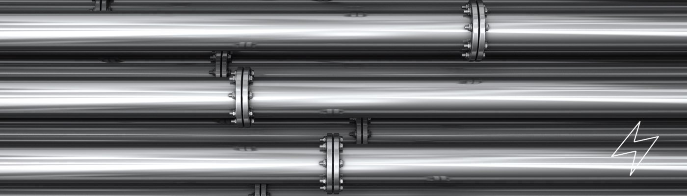 close up shot of a row of steel pipes